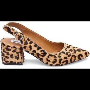 NWOB Steve Madden Dizzy Leopard Calf Hair Heels 5